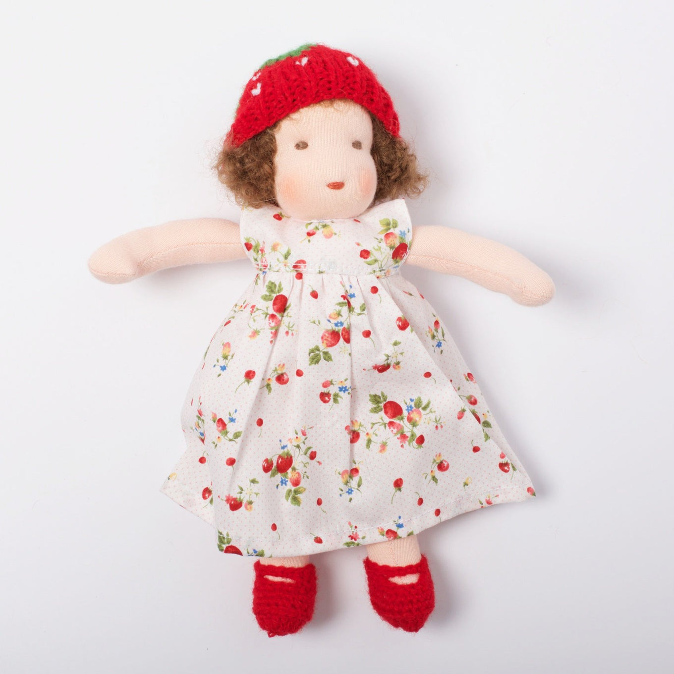 Waldorf Doll Brown Hair | Red/White