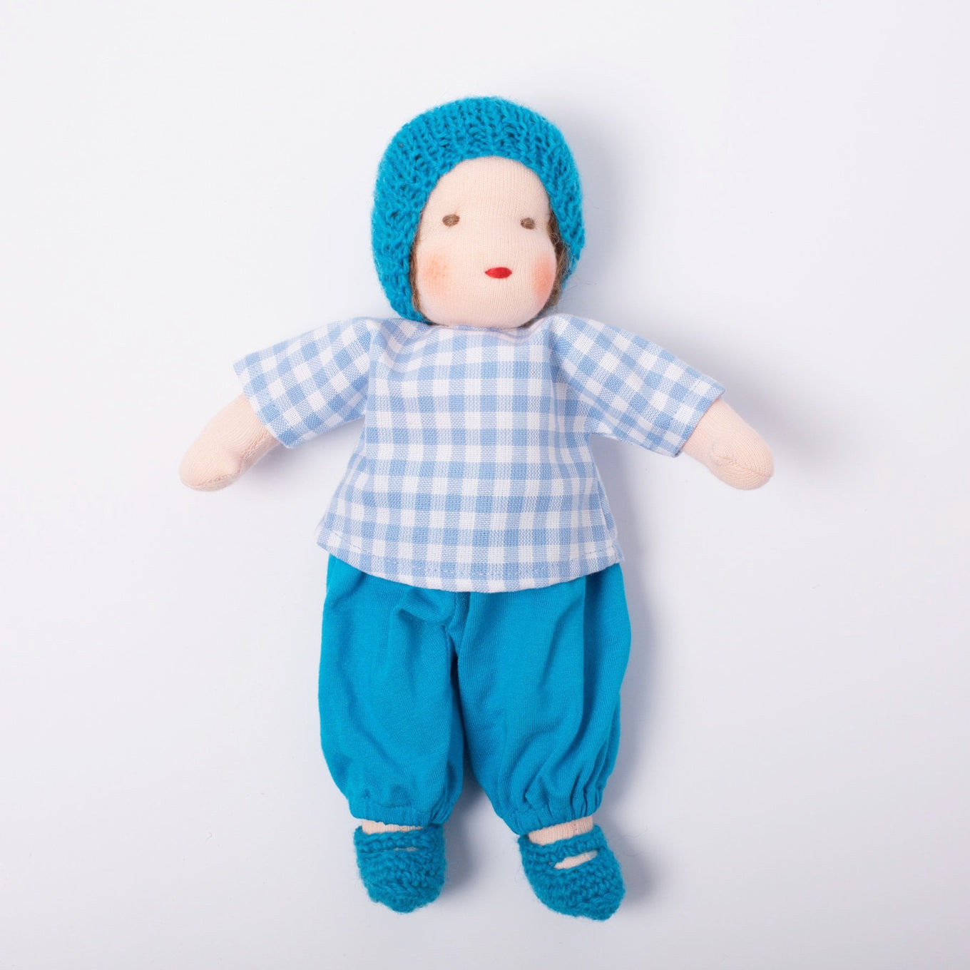 Waldorf Doll Boy Brown Hair | Blue Hat