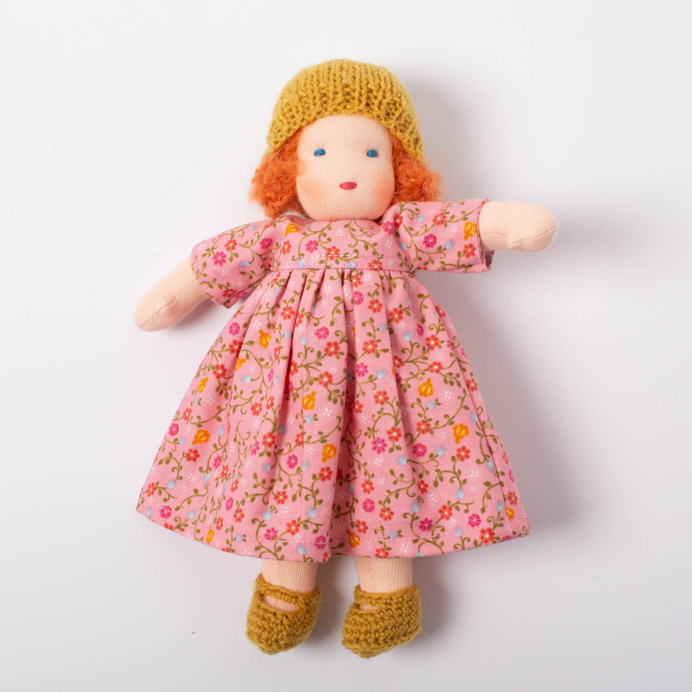 Waldorf Doll Red Hair | Pink Floral Dress