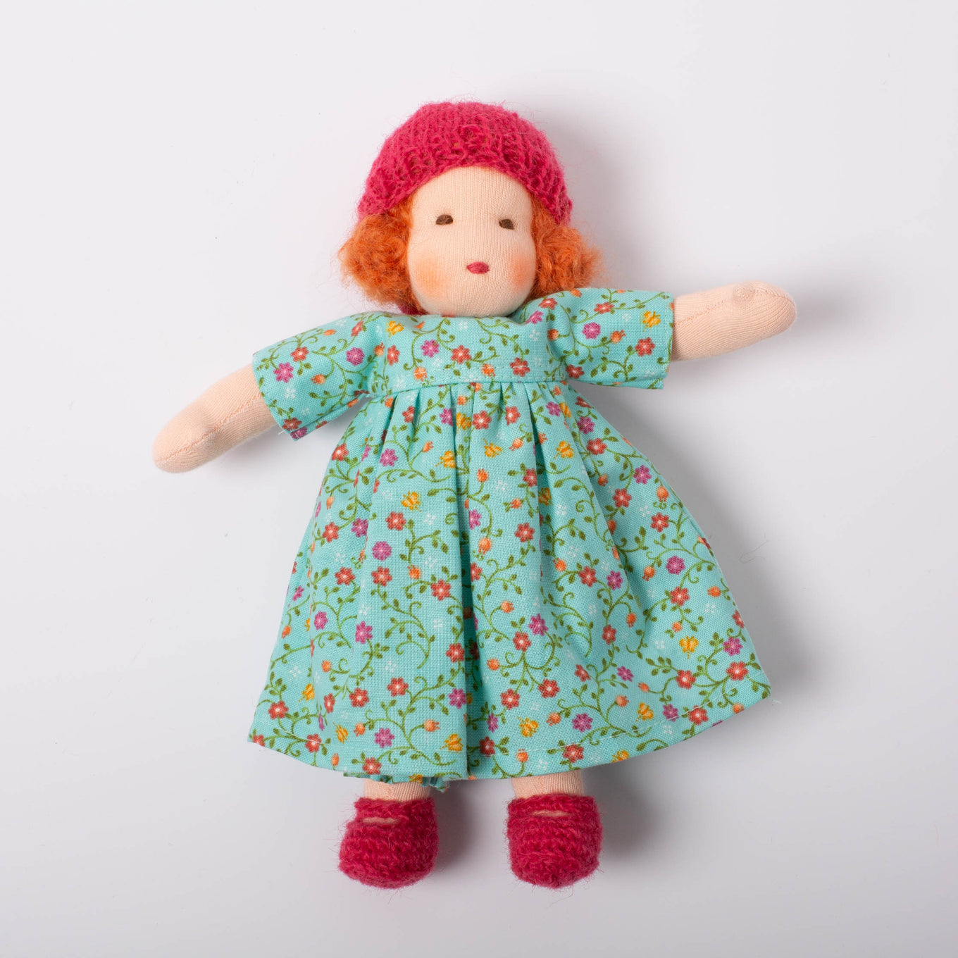 Waldorf Doll Red Hair | Blue Floral Dress