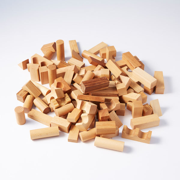 100 Natural Wooden Blocks from Wooden Story
