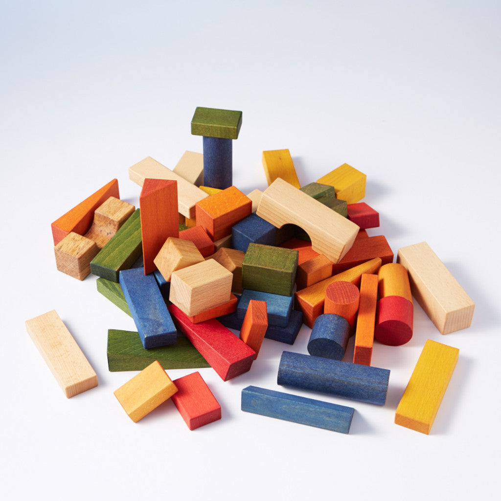 Chunky Wooden Blocks: 50pcs In a Canvas Bag