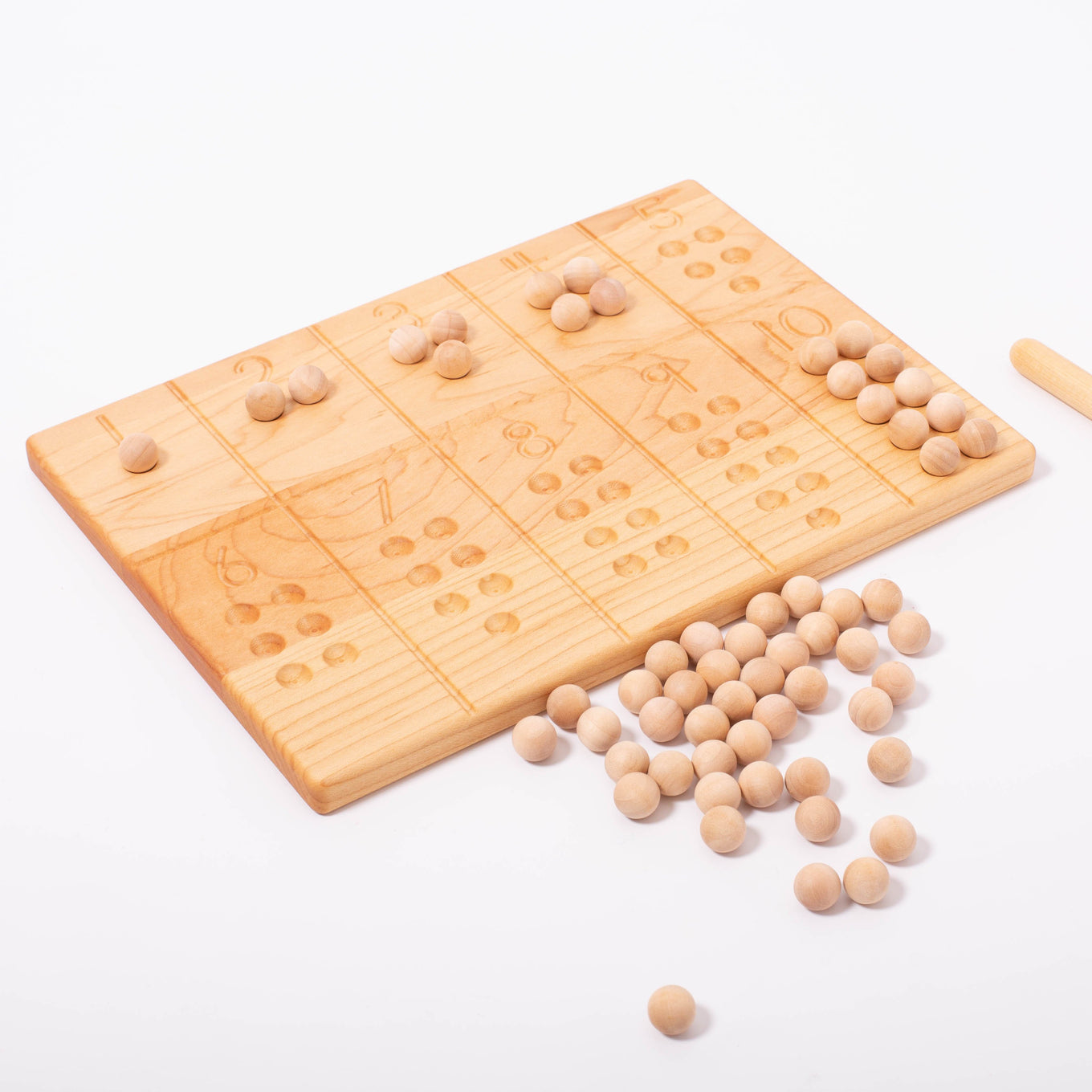 Reversible 1-10 board with Wooden Balls