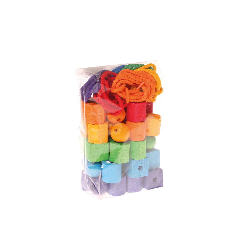 Coloured Wooden Beads Geo Shapes - 54 Piece