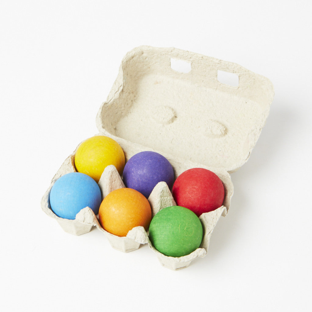 6 Wooden Balls - Rainbow Colours