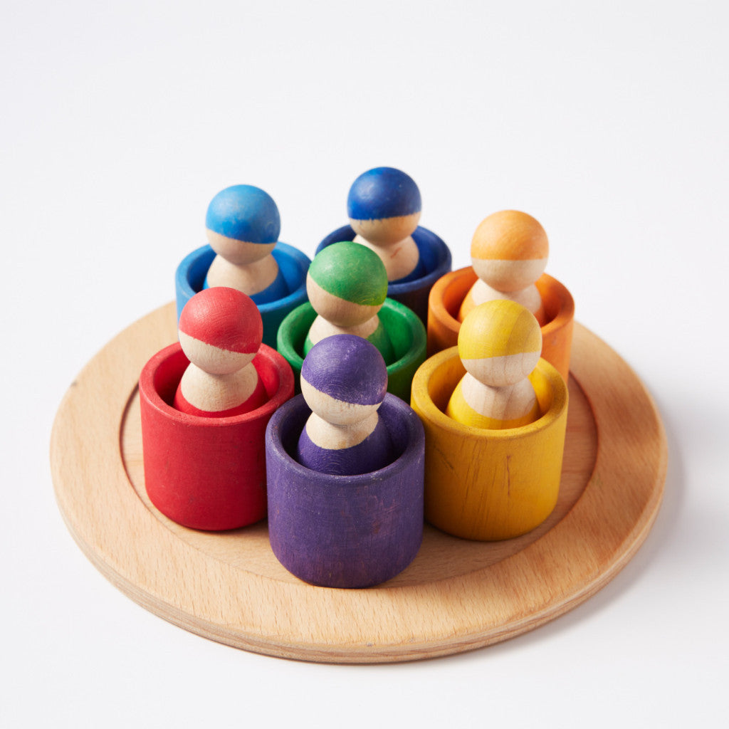 Rainbow Peg Dolls in Bowls