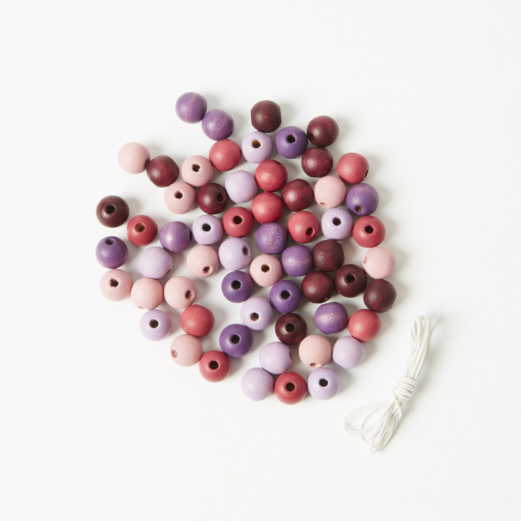Wooden Beads - Purple Pink 60