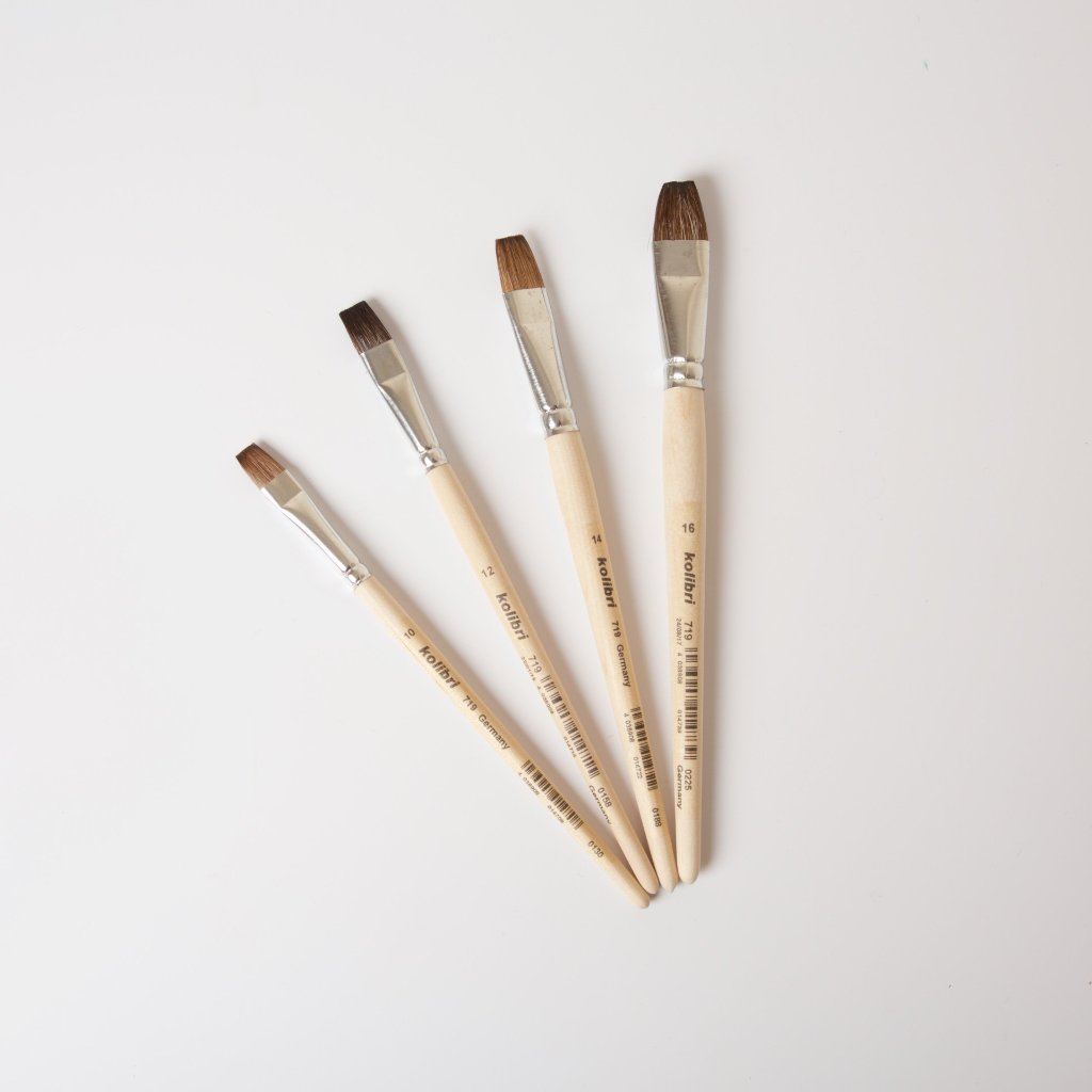 School Watercolour Paint Brushes in 4 sizes | Flat