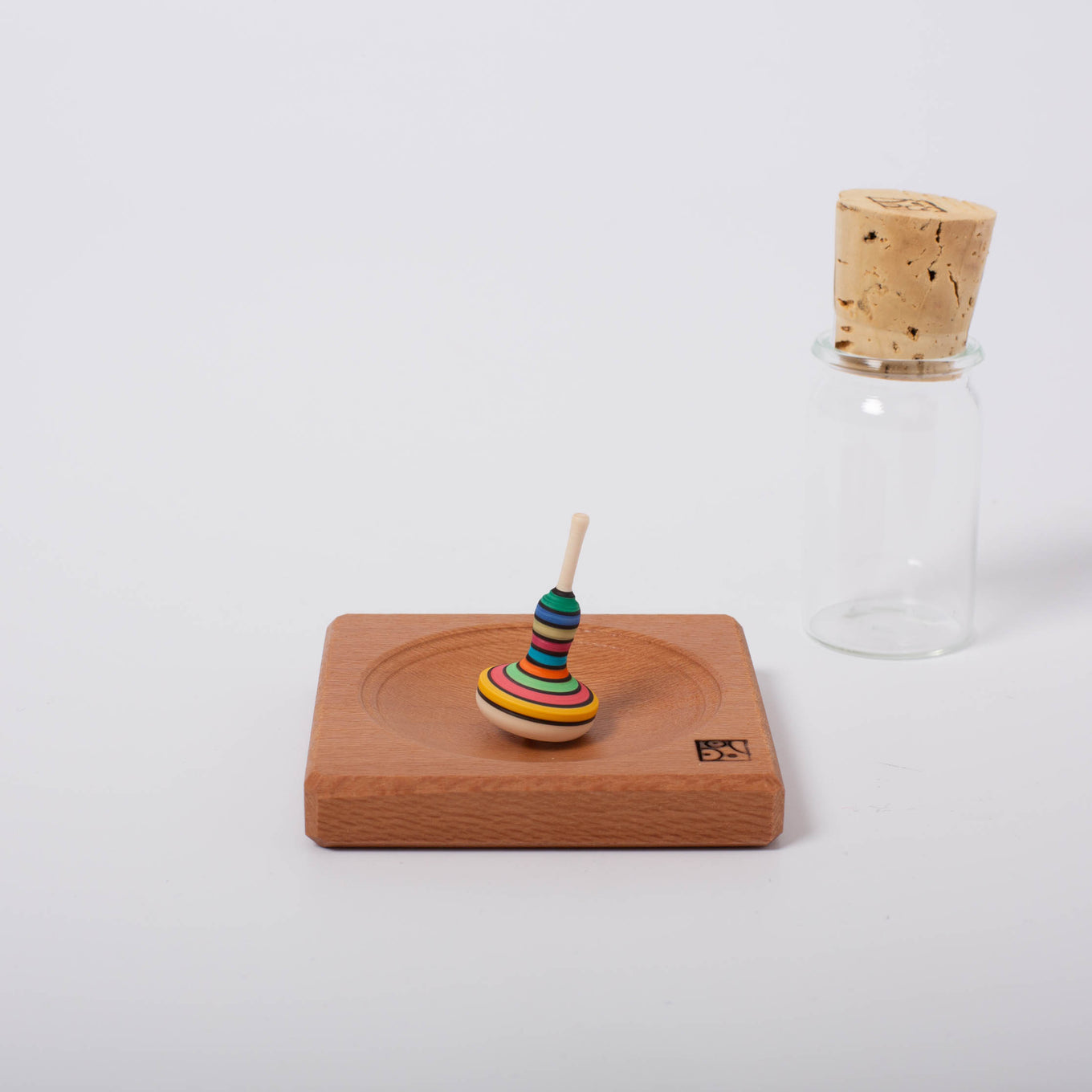 Mini Bell Shape Spin Top With Wooden Plate