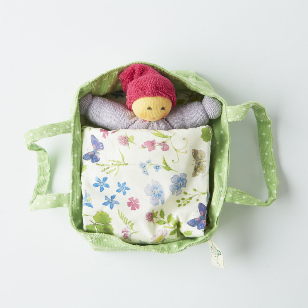 Tiny Organic Cotton Gnome Nature Doll in Bed