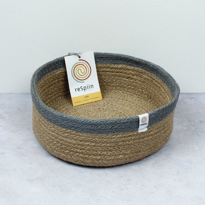 Shallow Jute Basket | Medium | Natural/Grey