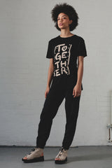 Together T-shirt and organic cotton trousers, artisan textiles