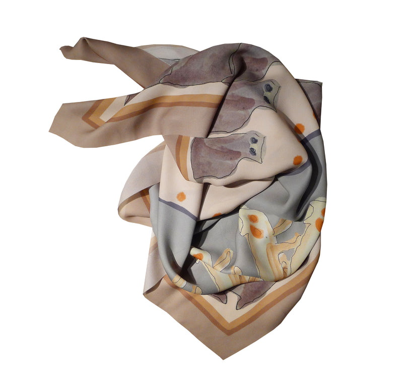 Ahimsa Silk Foulard Cats Love