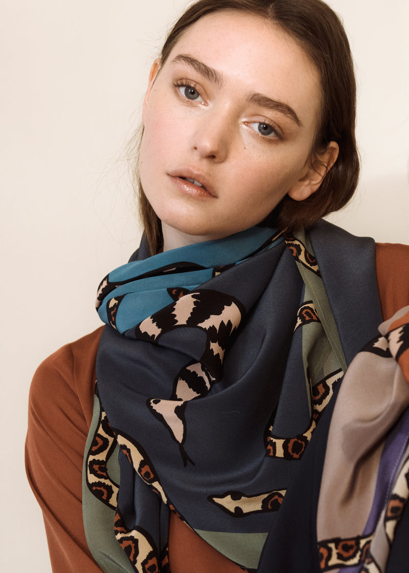 Snake Party Ahimsa Silk Scarf
