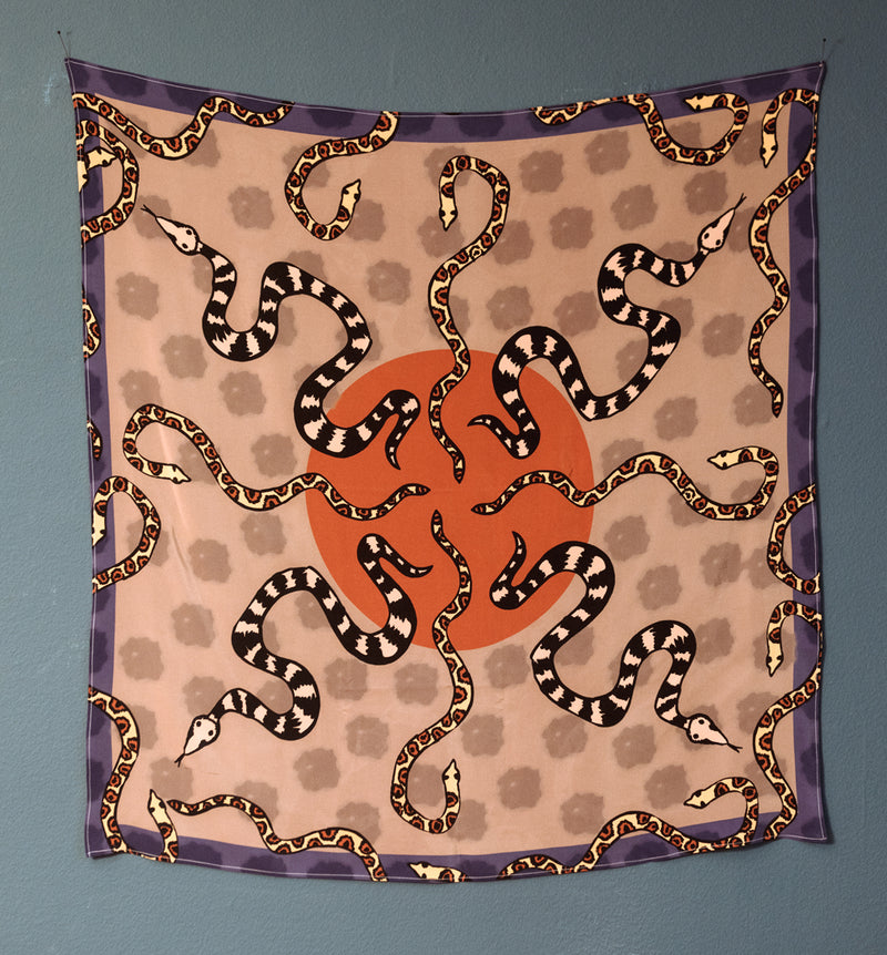 Snake Party Ahimsa Silk Scarf Sand