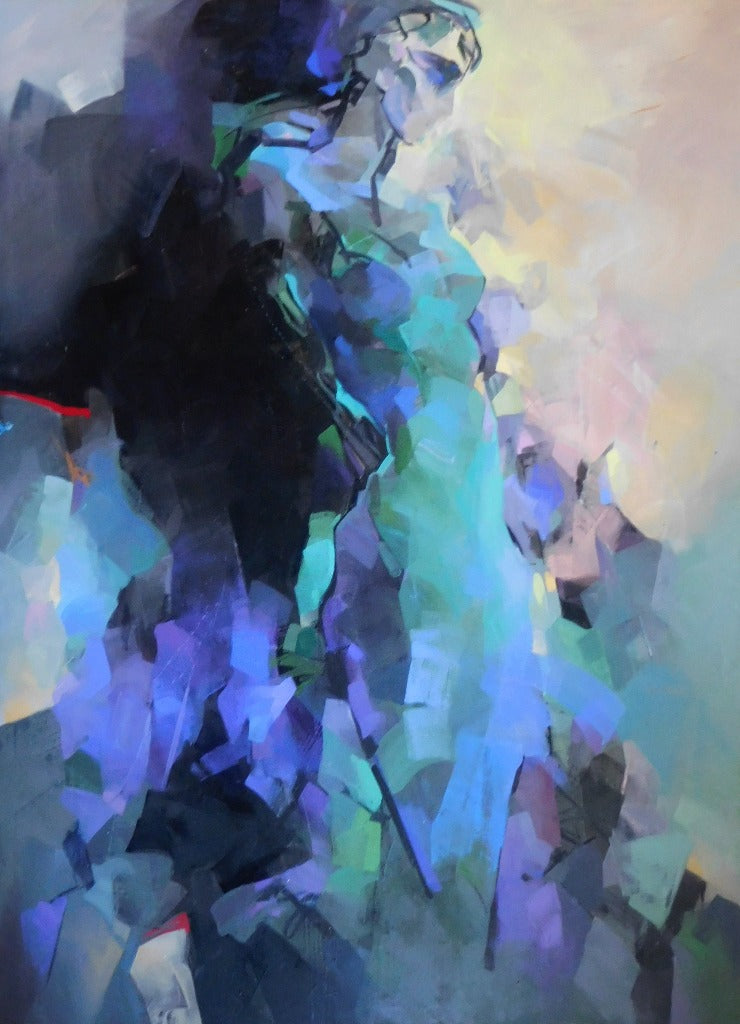 garden eden, blue hope, darkness, abstraction, oil painting,