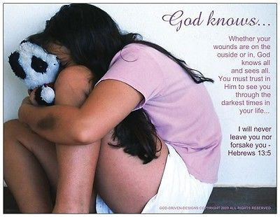 God Knows... Healing From Abuse Prayer Card