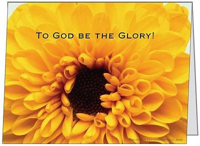 To God be the Glory Yellow Flower Greeting Card 5/Pack Set