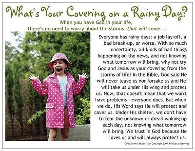 What's Your Covering On a Rainy Day Inspirational Prayer Card