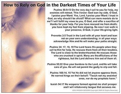 How to Rely on God in the Darkest Times of Your Life Prayer Card