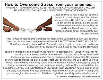 How To Overcome Stress from Your Enemies Prayer Card
