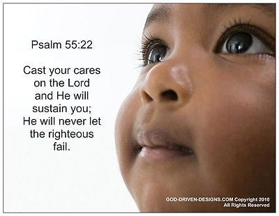 Psalm 55:22 Cast Your Cares Note Card 5/Pack Set