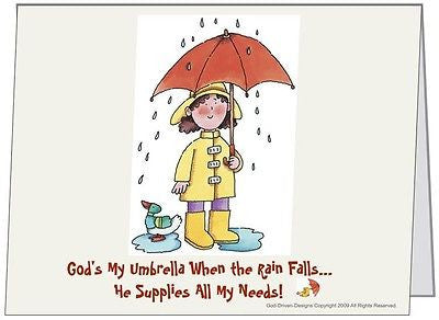 God is My Umbrella Inspirational Card 5/Pack Set