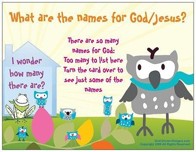 What are the Names of God/Jesus Kid's Prayer Card