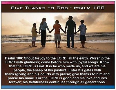 Give Thanks Psalm 100 English / Spanish Prayer Card