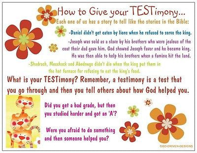How to Give Your Testimony Children's Prayer Card