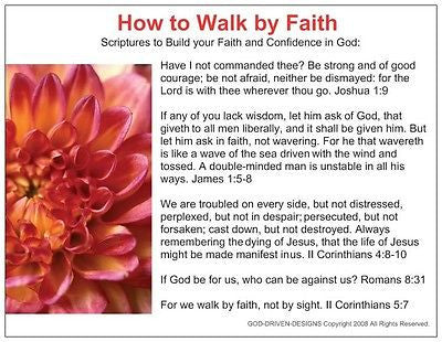 How to Walk by Faith Prayer Card
