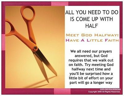 Come up with Half Inspirational Prayer Card