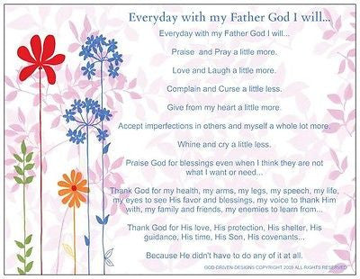 Everyday with My Father God I Will...Inspirational Prayer Card