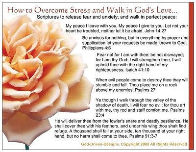 God Driven Designs Inspirational How to Overcome Stress From Enemies Prayer Card
