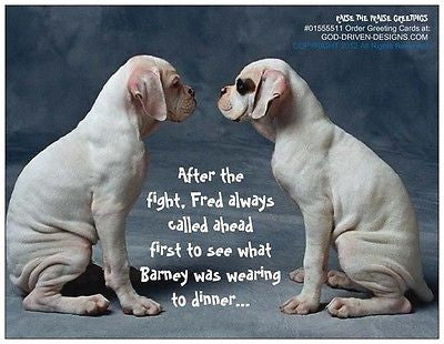 God Driven Designs Fred and Barney Boxer Dog Fight Funny Greeting Card Gift Idea Image