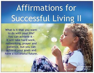 God Driven Designs Affirmations for Successful Living Inspiration Prayer Card Image
