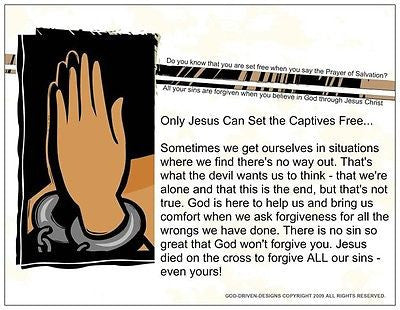 Only Jesus Can Set the Captives Free Prison Ministry Prayer Card