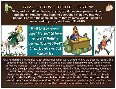 Give - Sow - Tithe - Grow Prayer Card