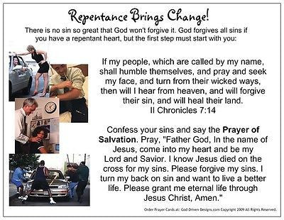 Repentance Brings Change Prayer Card
