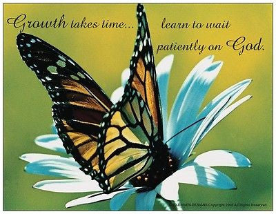 God Driven Designs Inspirational How to Trust in God Butterfly Growth Takes Time Prayer Card