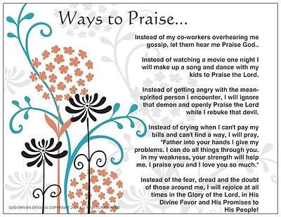 Ways to Praise Inspirational Prayer Card