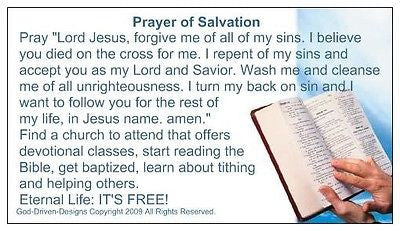Prayer of Salvation Seed Cards, Bible Image, Large Font