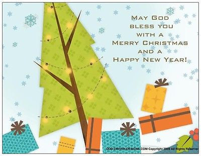 May God Bless You Christmas Holiday Note Card 5/Pack Set