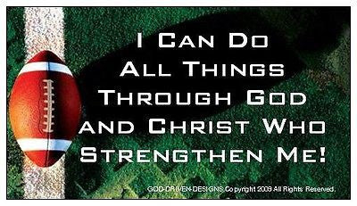 I Can Do All Things God and Christ Football Magnet