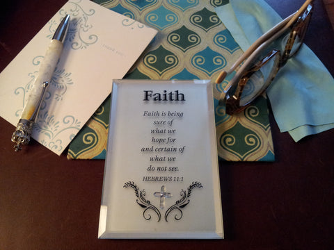 Inspirational Faith Scripture Glass Plaque