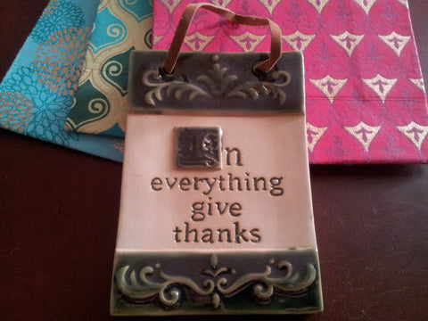 In Everything Give Thanks Tile Wall Plaque