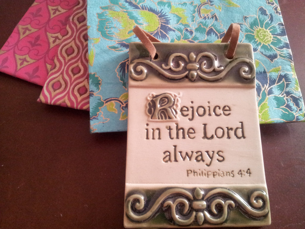 Rejoice in the Lord Philippians 4:4 Inspirational Tile Wall Plaque