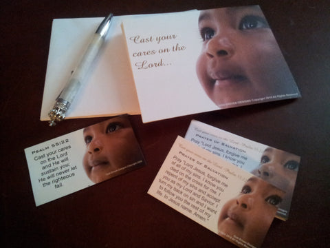 Cast Your Cares on the Lord, Baby Magnet and Card Gift Set with Psalm 55:22