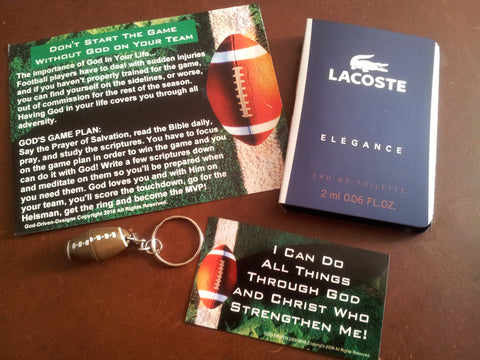 $4 Men's Football Gift Set Lacoste Cologne, Key Chain and Prayer Seed Cards