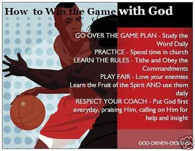 God Driven Designs Inspirational Win the Game With God Basketball Prayer Card